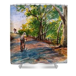 Backwoods Pedaling Shower Curtain