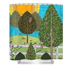 Backyard Gathering Shower Curtain