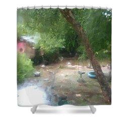 Backyard Rain Shower Curtain