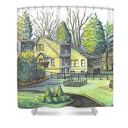 Shower Curtain featuring the painting Hometown Backyard View by Carol Wisniewski
