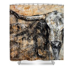 Shower Curtain featuring the painting Bad Attitude Texas Longhorn Contemporary Painting by Jennifer Godshalk