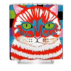 Bad Cattitude - Contemporary Cat Art Shower Curtain