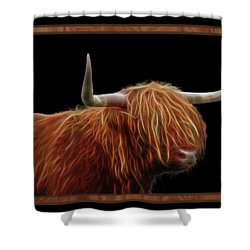 Bad Hair Day - Highland Cow - On Black Shower Curtain