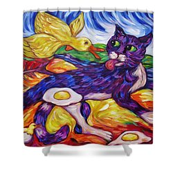 Shower Curtain featuring the painting Bad Kitty Gets Caught Again by Dianne  Connolly