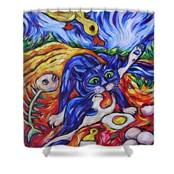 Shower Curtain featuring the painting Bad Kitty Gets Caught by Dianne  Connolly