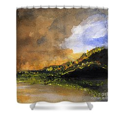 Bad Night Coming Cross The Bay Shower Curtain by Randy Sprout