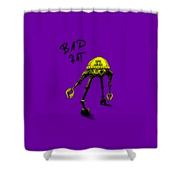 Shower Curtain featuring the drawing Bad Rat In Retro Yellow by Kim Gauge