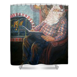 Shower Curtain featuring the painting Bad Rudolph by Bryan Bustard