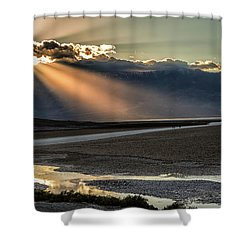 Shower Curtain featuring the photograph Bad Water Basin Death Valley National Park by Michael Rogers