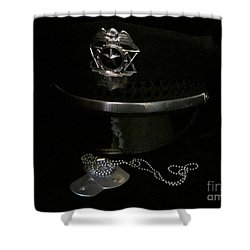 Badge And Tags Shower Curtain by Laurianna Taylor