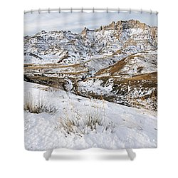 Badlands In Snow Shower Curtain