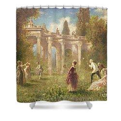 Badminton Players Shower Curtain by Johan Friedrich Hennings