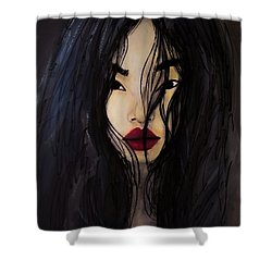 Shower Curtain featuring the painting Bae Yoon Young At Backstage by Jarko Aka Lui Grande