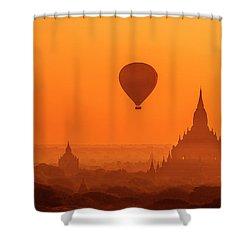 Bagan Pagodas And Hot Air Balloon Shower Curtain