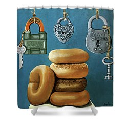 Shower Curtain featuring the painting Bagels And Locks by Linda Apple