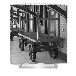 Baggage Carts Bw Shower Curtain