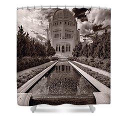 Bahai Temple Reflecting Pool Shower Curtain by Steve Gadomski