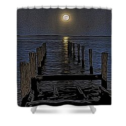 Bahamas Nocturne Woodblock  Shower Curtain