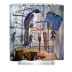 Bajo Mis Propias Alas Shower Curtain by Jorge L Martinez Camilleri