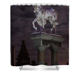 Baker Horse Under The Full Moon Shower Curtain by Stephen  Johnson