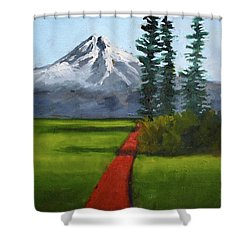 Shower Curtain featuring the painting Baker Meadow by Nancy Merkle