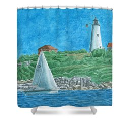 Bakers Island Lighthouse Shower Curtain by Dominic White