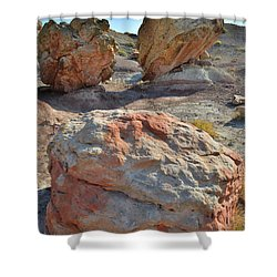 Balanced Boulders In Bentonite Site Shower Curtain