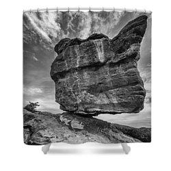 Balanced Rock Monochrome Shower Curtain