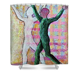 Shower Curtain featuring the painting Balancing Joy by Priti Lathia