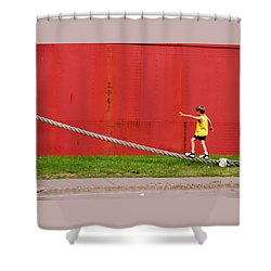 Balancing On Harbor Time Shower Curtain