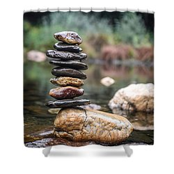 Balancing Zen Stones In Countryside River I Shower Curtain