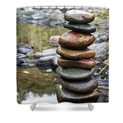 Balancing Zen Stones In Countryside River Vii Shower Curtain
