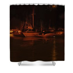 Balboa Island Newport Bay Night Shower Curtain by Angela A Stanton