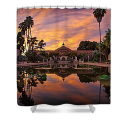 Balboa Park Botanical Building Sunset Shower Curtain by Sam Antonio Photography