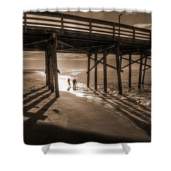 Balboa Pier Fishermen Shower Curtain