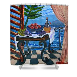 Balcony By The Mediterranean Sea Shower Curtain by Karon Melillo DeVega