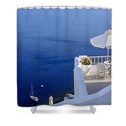 Balcony Over The Sea Shower Curtain