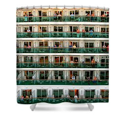 Balcony People Shower Curtain by Perry Webster