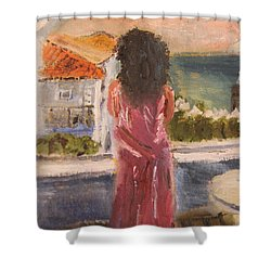 Shower Curtain featuring the painting Balcony View by Michael Helfen