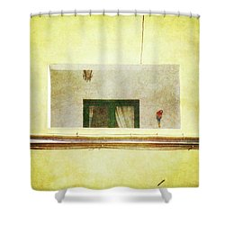 Shower Curtain featuring the photograph Balcony With Parrot by Anne Kotan