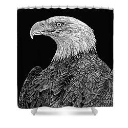 Bald Eagle Scratchboard Shower Curtain