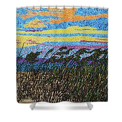 Bald Head Island, Sea Oat Sunset Shower Curtain by Micah Mullen