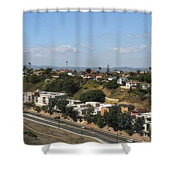 Baldwin Hills Over Stocker Street  Shower Curtain