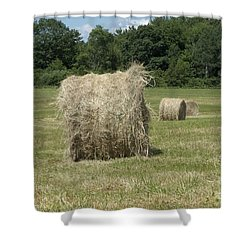Bales Of Hay In New England Field Shower Curtain by Erin Paul Donovan