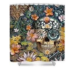 Bali Botaniskull - Floral Sugar Skull Art Shower Curtain by Christopher Beikmann