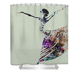 Ballerina Dancing Watercolor Shower Curtain by Naxart Studio