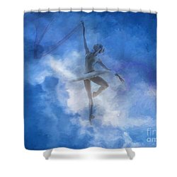 Ballerina In The Clouds Shower Curtain by Jim  Hatch