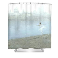 Ballerina On The Thames Shower Curtain by Steve Mitchell