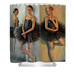 Ballerinas In Black Tutu Shower Curtain