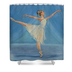 Shower Curtain featuring the painting Ballet Blues by Kelly Mills